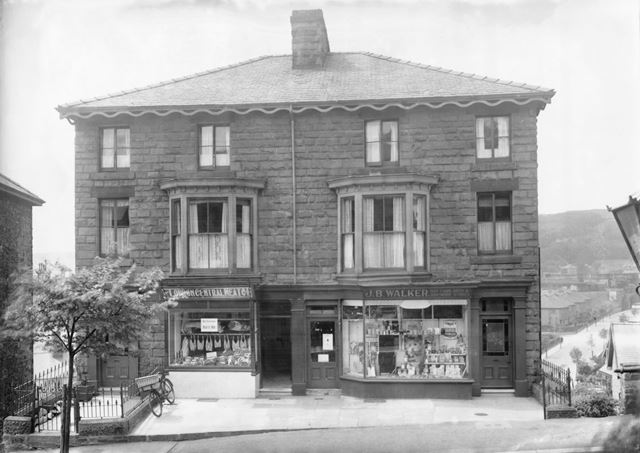 Shop fronts of J. B. Walker and The London Central Meat Co, Fairfield Road, Buxton