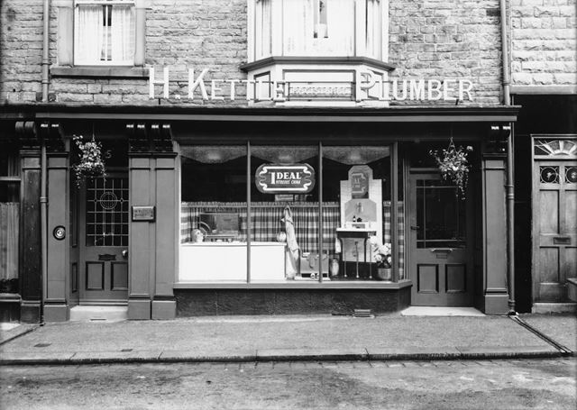 Shop front of H. Kettle, plumber, Spring Gardens, Buxton