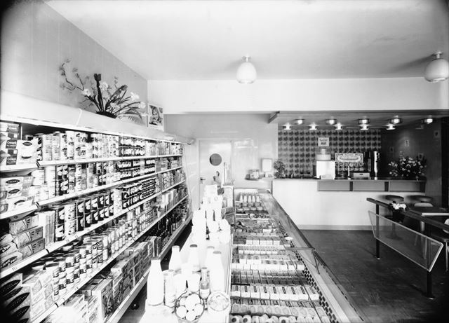 Grocery Counter at Morten's Dairies, Fairfield, Buxton, c 1960