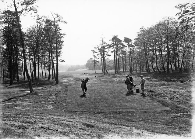 Teeing off through the trees, Cavendish Golf Club, Gadley Lane, Buxton, 1927-1931