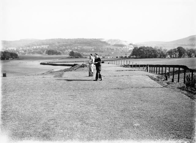 Two players on the tee, Cavendish Golf Club, Gadley Lane, Buxton, 1927-1931