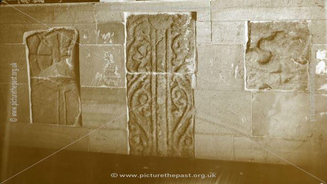 Coffin lids in church, Alstonefield, c 1930s