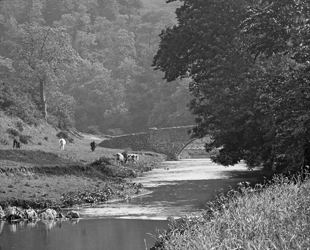 River Manifold and Grindon Bridge, Grindon, Staffordshire, c 1930s