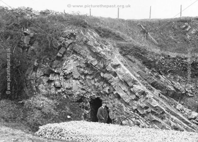 Fold in limestone near Grindon, Staffordshire, c 1930s