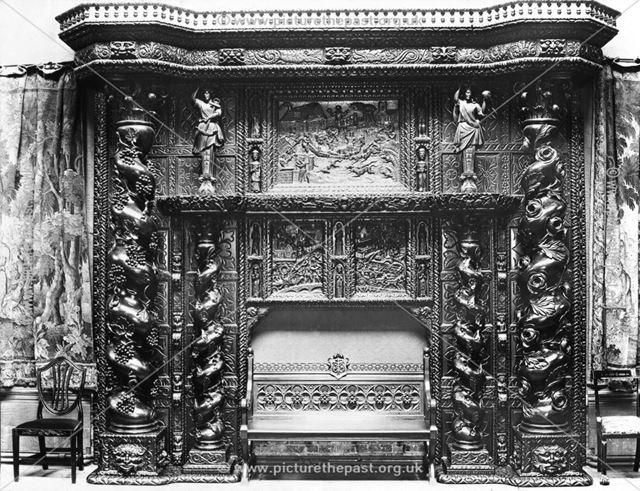 Carved oak fireplace, Ilam Hall