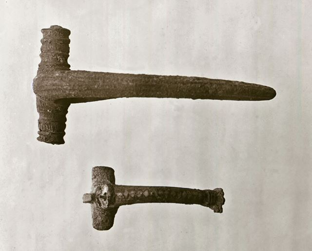 Bronze fibulae found in excavations at Robin Hood Cave and Church Hole Cave - Creswell Crags