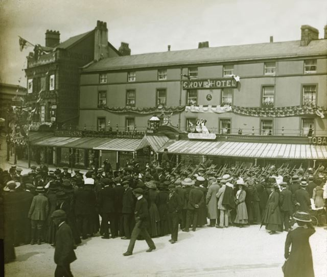 Parade outside the Grove Hotel