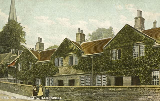 Almshouses on South Church Street, Bakewell, c 1937