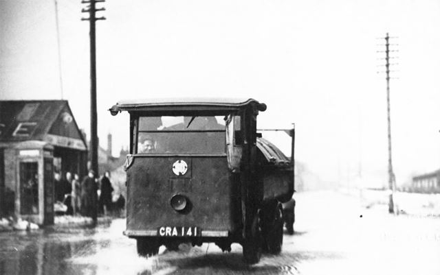 Floods on Sheffield Road, Creswell, c 1947 ?