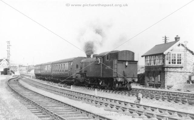 Steam Locomotive and Passenger Train passing Pinxton Station Signal Box