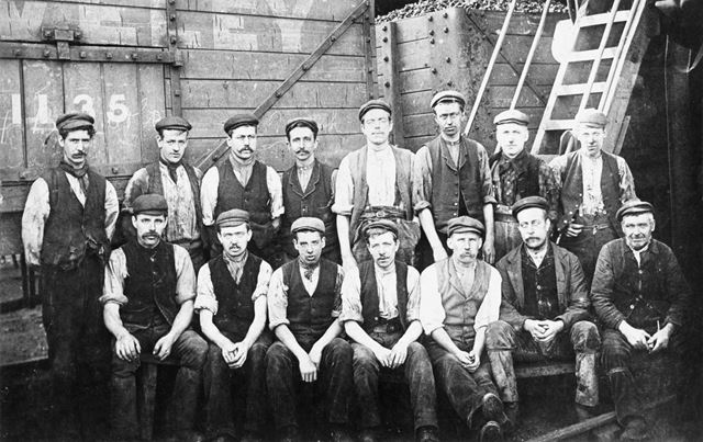 Coal Miners posed at Ireland Colliery, Poolsbrook, or Markham Colliery, Duckmanton