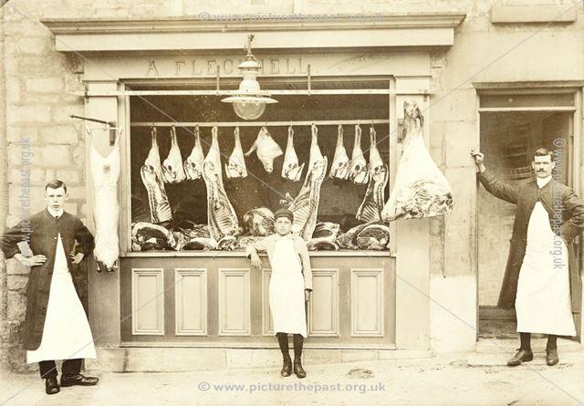 A. Flecknell's Butchers Shop, Market Place, Bolsover, c 1900