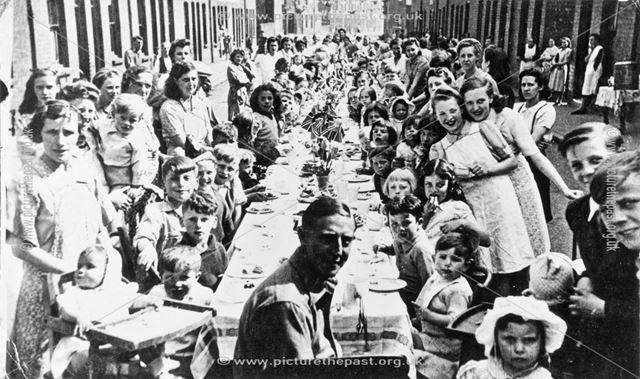 World War 2 street party celebration for VE Day, Devonshire Street, near Shirebrook, 1945