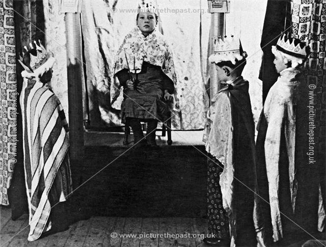 Children perform a Nativity Play, Shirebrook - The Three kings (Magi) meet Herod