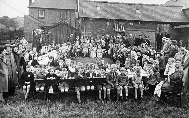 World War 2 Street Party Celebration for VE Day, Riley's Field, Shirebrook, 1945