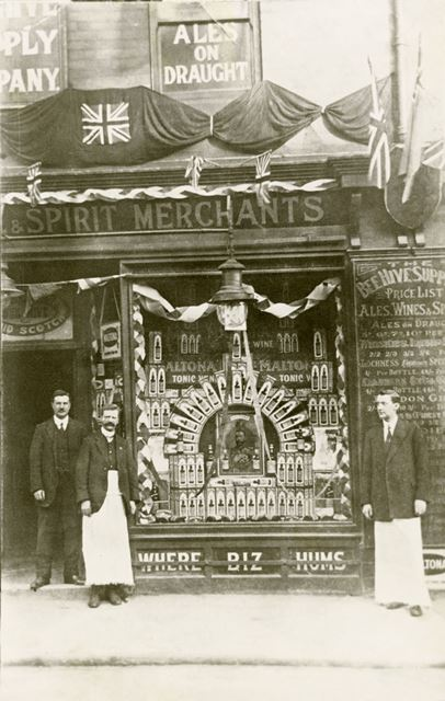 The Beehive Supply Company shop front and staff, Station Road, Shirebrook, c 1911 ?