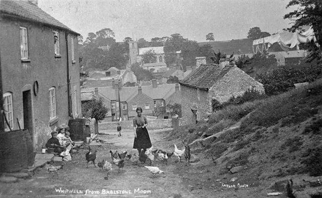 'Whitwell From Bakestone Moor' and a family with Chickens
