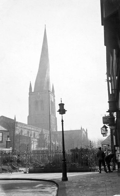 The Alpine Gardens and Parish Church seen from the junction of Burlington Street and Stephenson Plac