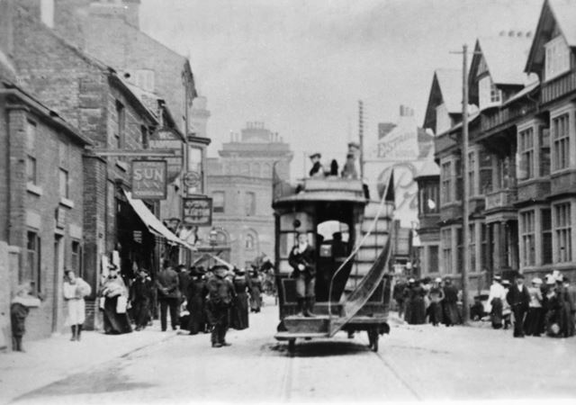 Horse-drawn double decker tram, West Bars, Chesterfield, c 1900