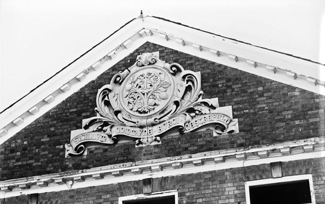 Carved Chesterfield Borough seal on former Maternity Home, Royal Hospital, Holywell Street, Chesterf