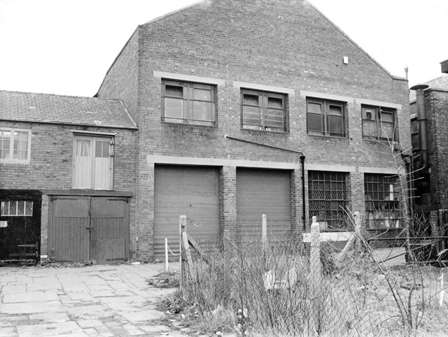 Buildings at the back of Vicar Lane, Chesterfield, 1989