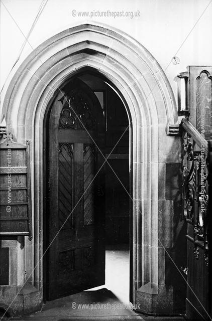 Vestry doorway, Holy Trinity Church, 31 Newbold Road, Chesterfield, 1947