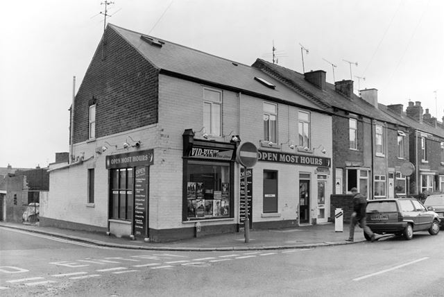 Shops on Old Hall Road at the junction with Barker Lane, Brampton, Chestefield, 2000