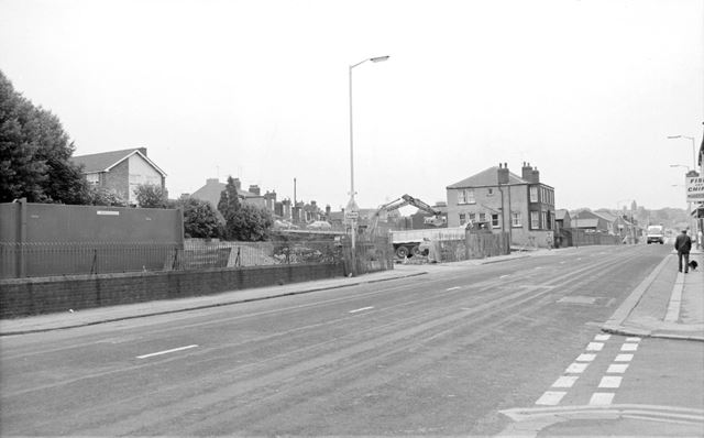 Clearance of filling station site, Chatsworth Road, Brampton, Chesterfield, 1990