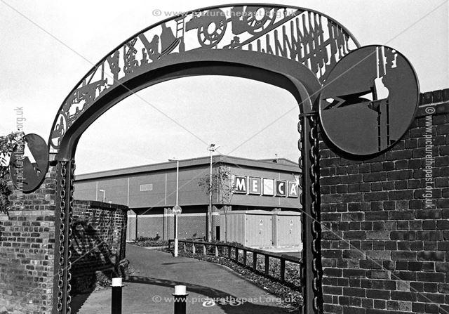 Decorated arch entrance to Mecca Bingo Club, Chatsworth Road, Brampton, Chesterfield, 1997
