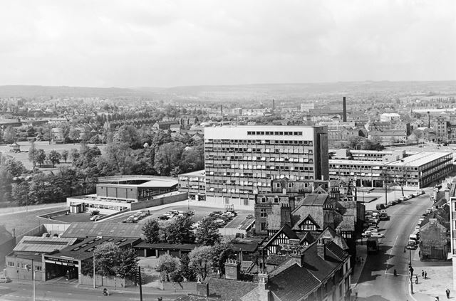 View from Top of the Market Hall tower to West Bars, Chesterfield, 1964