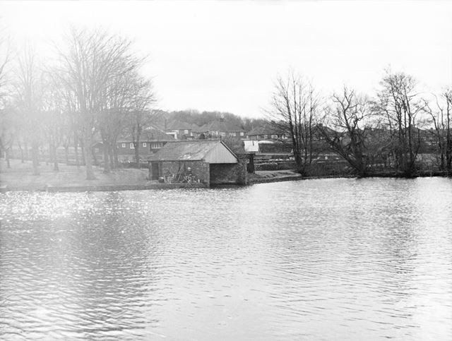Looking Towards Boat House, Bowling Green and Pavilion, Robinson's Walton Dam, Chesterfield, c 1980s