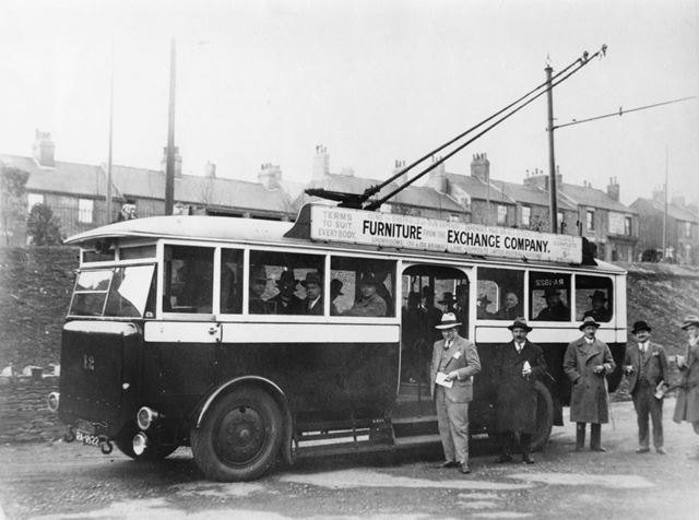 Trolley Bus No.12 at Depot, Sheffield Road, Stonegravels, Chesterfield, 1930