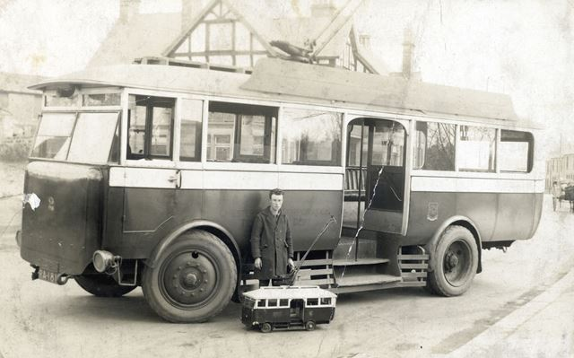 Trolley Bus with Identical Working Model, Chatsworth Road, Brampton, Chesterfield, c 1927