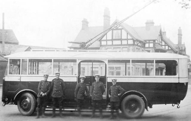 Trolley Bus at Brampton Terminus, Chatsworth Road, Brampton, Chesterfield, c 1927