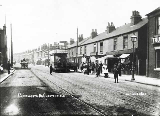 Chatsworth Road with tramcar, Brampton, Chesterfield, c 1910