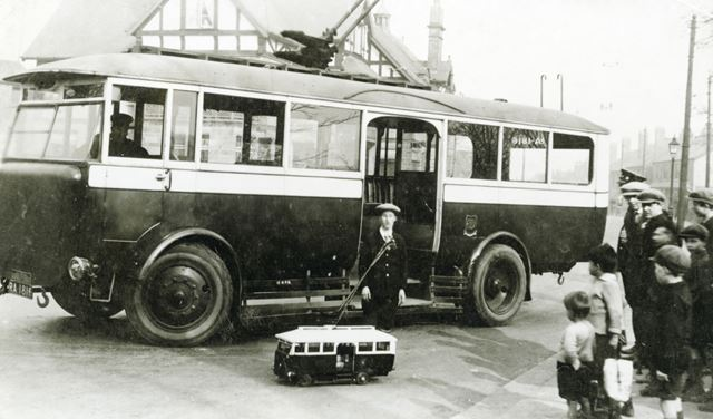 Trolleybus with working model outside Terminus Hotel, Brampton, Chesterfield, c 1930