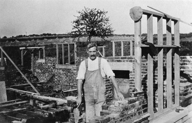 Mr Smith, builder, during construction of The Willows