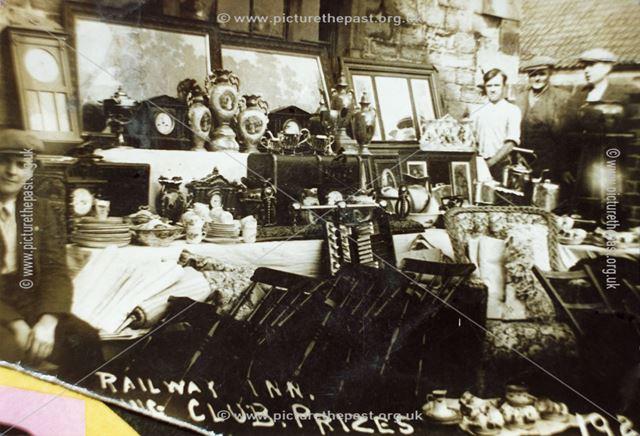 Fishing Prizes on display at the Railway Inn, Netherthorpe
