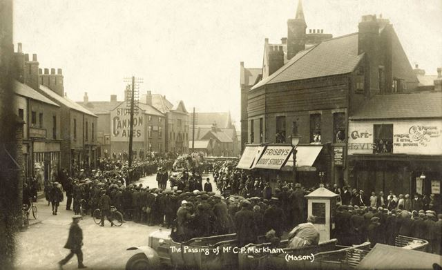 Charles Markham's Funeral passing Frisby's Boot Store and Staveley Cross