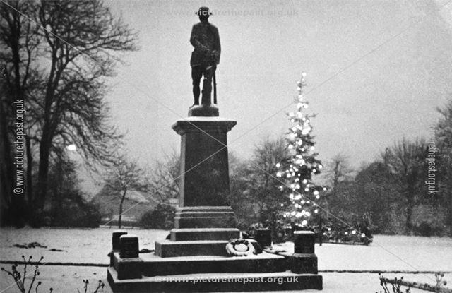 Staveley War memorial at christmas