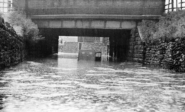 Flooding under the railway bridge, Works Road