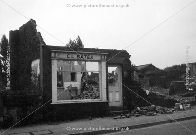 C L Bates - Mens hairdresser's shop during demolition