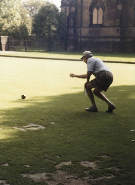 Fred Wood Playing Bowls Outside Hall, Church Street, Stavely, 1999