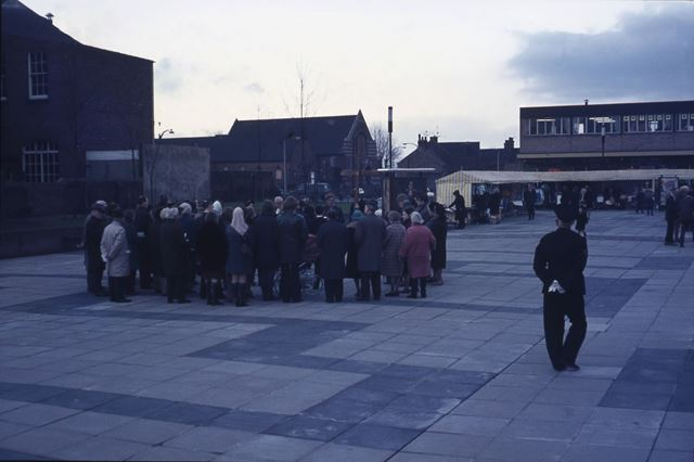 Unknown Gathering of People on the Market Place, Staveley, c 1960s-70s