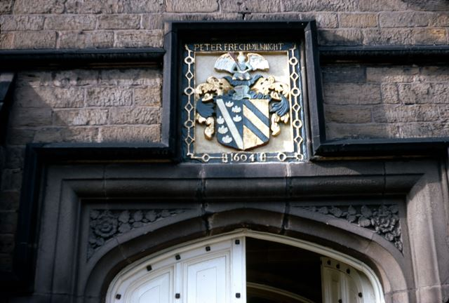 Staveley Hall Crest above Entrance, Church Street, Stavely, c 1970s