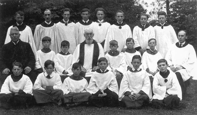 Church Choir and Rev Stamper, Stonebroom, c 1925