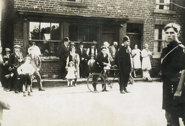 The Blocks, Crowd Outside a Shop, High Street, Stonebroom, c 1940