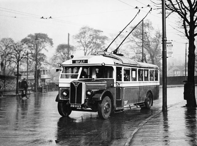 Ripley trolley Bus, Mansfield Road, Basford, Nottingham, 1933