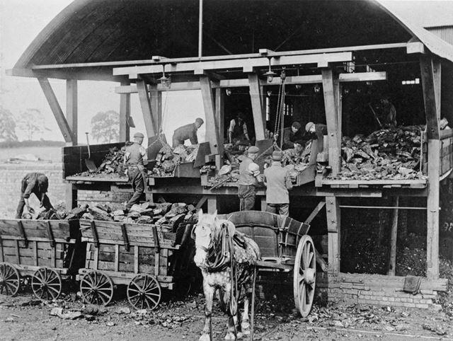 Loading Coal into Horse Drawn Carts, Denby Colliery, Denby, c 1930