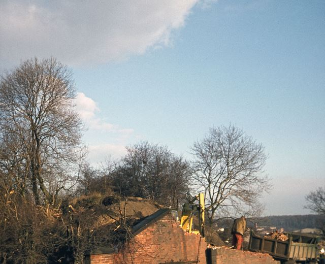 Demolition of the Iron Bridge, Steam Mill Lane, Peasehill, Ripley, c 1977
